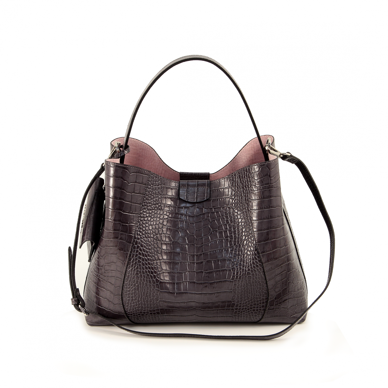 884ba95838 Genuine leather bag. Nickel colored metal accessories. Handle height 22 cm.  Adjustable and detachable shoulder strap. Top closure with magnet.