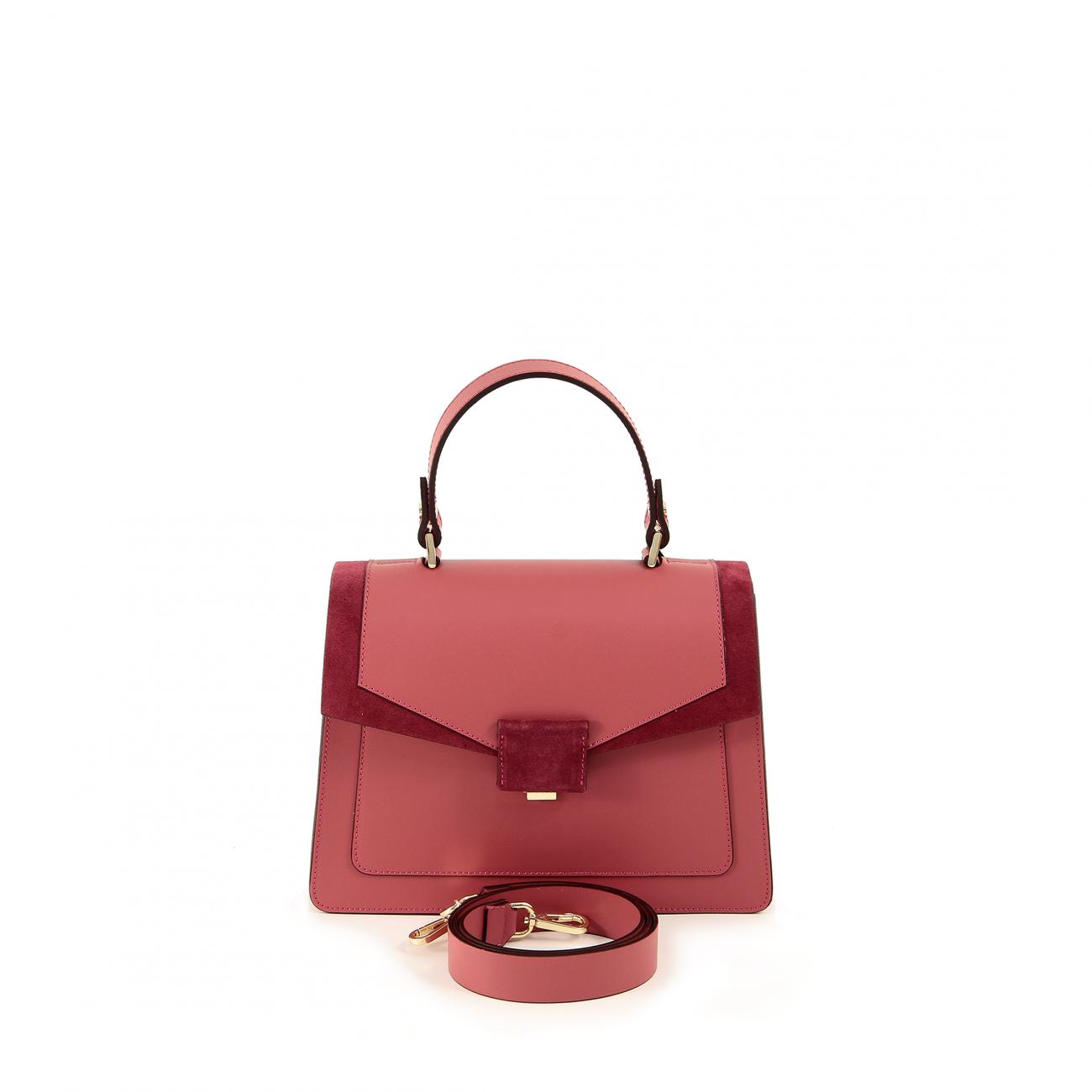 Genuine leather bag - calf. Gold colored metal accessories. Handle height 11  cm. Detachable shoulder strap. Snap closure. Internal pocket with zipper. 99af779360b